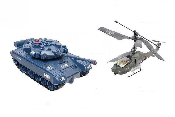 Радиоуправляемый набор танк + вертолет с гироскопом Jin Xiang Toys JD803