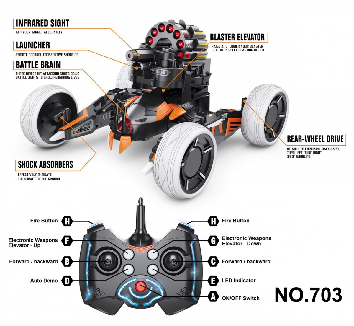 KT703 Радиоуправляемая боевая машина Keye Toys Space Warrior (лазер, стрелы) 2.4G - KT703