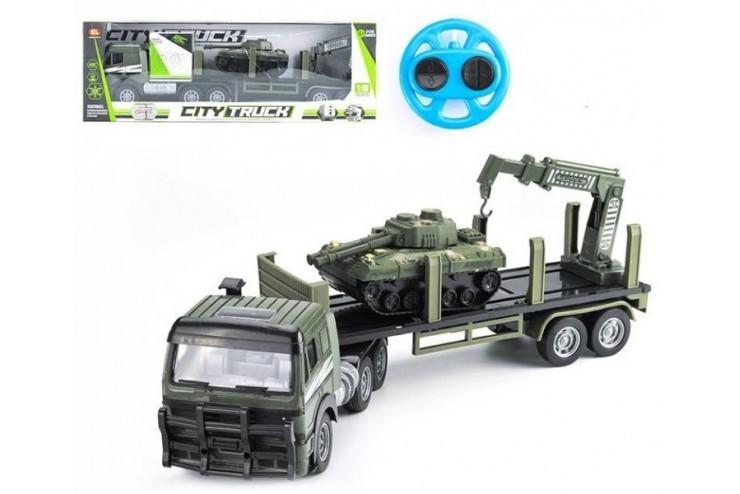 Радиоуправляемый грузовик-трейлер + танк CityTruck 1:18 Zhoule Toys 551-B2
